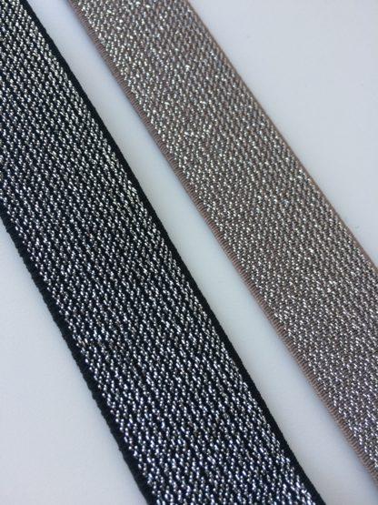 Elastiek 25mm zwart of donker beige