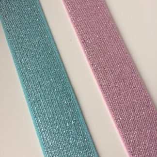 glitterelastiek 25 mm Licht roze of mint
