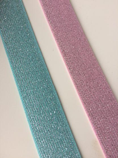 glitterelastiek 25 mm Licht roze of mint