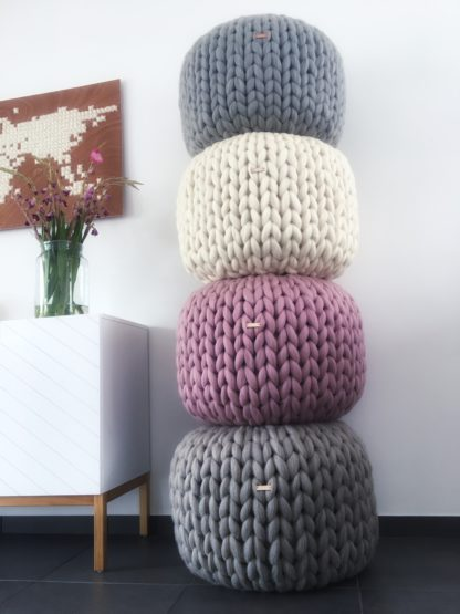 Workshop chunky knitted poof